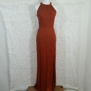 NWT Asos Burnt Orange 2 Slits Open Back Gown #309